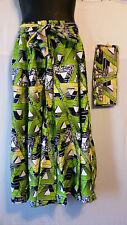 """African Wax Print Ankara Maxi Women Skirt 2 Pocket Belt Free Size Waist 52"""" P05"""