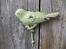 "Fun BIRD Shaped All Metal Chippy Paint Green 5"" x 4"" Coat Hat Hanger Hook"