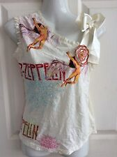 LED ZEPPELIN unusual RIBBON BOW T SHIRT ROSE BLOUSE FESTIVAL TOP size 8 BNWT new
