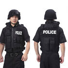 NEW POLICE Velcro Tactical Vest BLACK For Army Military SWAT Hunting Hiking #C