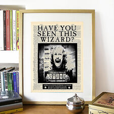 Harry Potter, Sirius Black Wanted Mock Dictionary Page Art Print Poster.