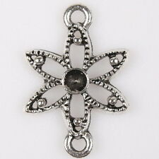 50pcs 145294 Silver Tone Hollow Dots Flower Charms Alloy Connector Pendant 23mm