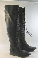 """Blacks  lace up front round toe 1"""" thick heel over knee sexy  boot.Size.  11"""