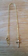 "12 LOT NEW Goldtone Electroplated Crosses Center Heart W/ Matching 15"" Chain"