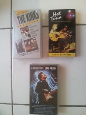 lot 3 cassettes video K7 VHS musicales Hot Tuna / Lou Reed / The Kinks