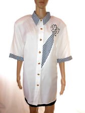 Womens Vtg 70s White Embroidery Embellished Short Sleeve Shirt sz XXXL 24 AH41