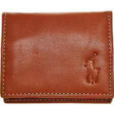 Ralph Lauren portamonete in pelle brunita marrone Pony Player RRP £ 50
