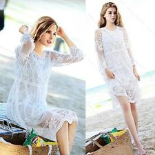 Ladies Peasant Ethnic Embroidered Floral Boho Long Tops Mexican Gypsy Midi Dress