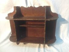 Architectural scroll cut wall hanging shelf 2 tier Oak wood  looking gothic