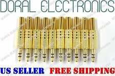 "10 Pcs 3.5mm 1/8"" Stereo Male Audio TRS GOLD Plated Jack Plug Adapter Connector"