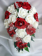 BRIDES TEARDROP BOUQUET , Wedding Flowers Ivory & red roses with diamante