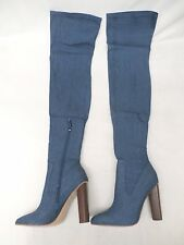 Missguided Over The Knee Denim Boot Faded Denim Stretch GG8 Women Size UK 6/US 8