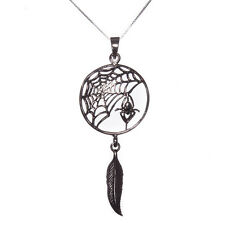 Sterling Silver 925 Spider Web Dream Catcher Pendant Necklace Lisa Parker