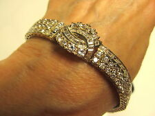 Estate Vintage 925 Sterling Silver 14K WG Vermeil CZ Dia Bracelet Unused