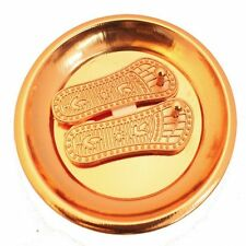 Auspicious Copper Finish Goddess Laxmi big Charan Paduka Slipper Talisman Amulet