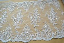 "Embroidered Tulle Lace Trim 17"" Wide Ivory Wedding Flower Lace Fabric 1 Yard"