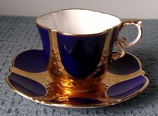 Vintage ~ Aynsley Bone China ~ TEA CUP and SAUCER ~ Cobalt Blue, Gold, and White