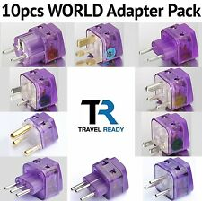10 Pcs INTERNATIONAL WORLD TRAVEL ADAPTER Plugs Kit Set EUROPE ASIA AFRICA AU US