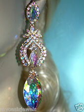 Clear AB Marquise Chandelier Earrings Rhinestone 4 inch Pageant Bridal Drag