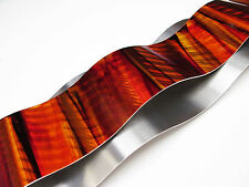 Modern Abstract Metal Wall Sculpture Art Red Orange Tropical Painting Home Decor