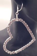 Big Heart Earrings Sterling Silver Leverbacks Clear Crystal Rhinestone Dangle