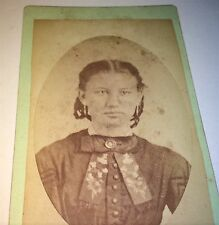 Antique Victorian American Fashion Beauty! Hair Braided Girl Wisconsin CDV Photo