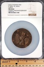 Swiss Shooting Fest Medal, R-1855a, AE, 60mm, Zurich, NGC graded MS 63 BN!