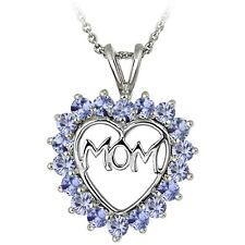 925 Sterling Silver Tanzanite MOM Open Heart Necklace