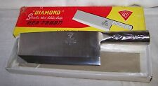 Diamond Stainless Steel Kitchen Knife Meat Clever Solid Piece Vintage NIB Sharp
