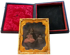 1858 EARLY PHOTOGRAPHY - Ambrotype in Wood Case - AMERICAN WOMAN WITH CHILDREN