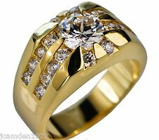 Men's Championship Rising Sun CZ ring 18K yellow gold overlay size 10