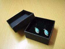 Nouveau petit véritable argent avec pierre turquoise forme de larme boucles d'oreilles avec boite