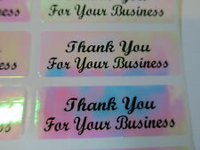 400 Script Font Pink Holographic Thank You for your business Stickers Labels
