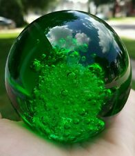 Green Emerald Glass Round Crystal Ball Paper Weight Controlled Air Bubbles 3""