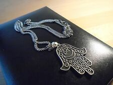 BIG Hand of Fatima silver 2.25 inch pendant 27 inch necklace