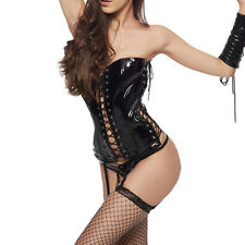 Sexy Black Women PVC Faux Leather PVC Lace Up Corset Lingerie Set