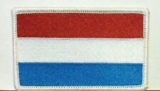 Luxembourg Flag Embroidery Iron-On Patch Military Biker Emblem White Border