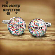 Melbourne Map cuff links handmade cuff links  Platinum and glass cufflinks