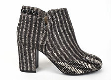 CHANEL 14B Black & White Pony Hair Chain Zip Up Short Ankle Boots 38 7.5 $2100