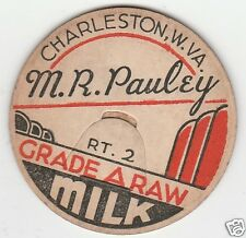 MILK BOTTLE CAP. M. R. PAULEY. CHARLESTON, WV. DAIRY