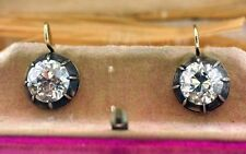 4.5 carat Antique Deco Gold, brilliant  Old European Round  Diamond Earrings