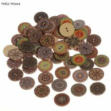 Best Quality Buttons Scrapbooking Wood Sewing Decorative 50 Pcs Pattern 25mm