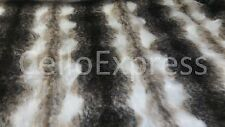 Striped Faux Fake Fur Curly Fabric 25mm Pile Teddy Bear & Animal Toy Craft
