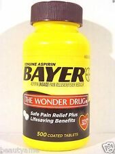 Bayer Genuine Aspirin 325mg, 500 Coated Tablets *Pain Reliever, Fever Reducer*