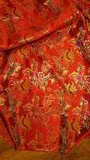 "1M RED MULTI COLOUR floral Chinese Brocade Fabric Shiny Silky,  material 45""wide"