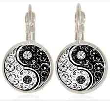 Yin and Yang Tai Chi Tibet silver Glass cabochon 16mm Lever Back Earrings