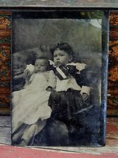ANTIQUE 1860'S THRU 1870'S TINTYPE PHOTOGRAPH - LITTLE GIRL AND BABY