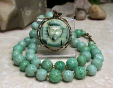 Vintage Czech Glass Egyptian Revival Pharaoh Pendant Necklace - Book Piece!!!