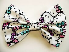 NEW FABRIC HAIR BOW W/ALLIGATOR CLIP * Hello Kitty *Handmade USA*FREE SHIPPING