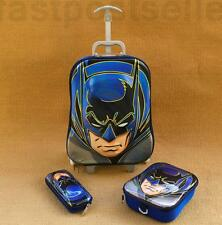 """16"""" Batman Boys Travel Rolling Trolley Bag Suitcase Luggage School Hand Bag Set"""